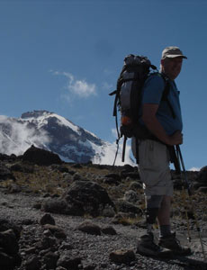 A Tourist trekking with kilimanjaro lemosho route guide