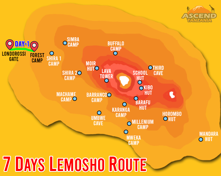 7 Days Lemosho Route Map
