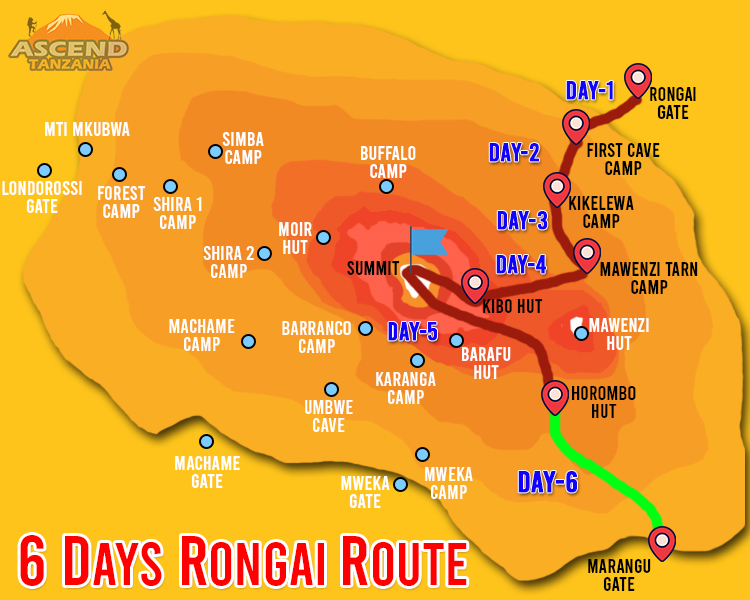 6 Days Rongai Route Map